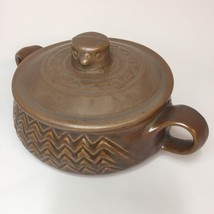 Vintage Hall Pottery 1794 Eagle Bird Nest Covered Dish Brown Bowl Chili ... - $29.69