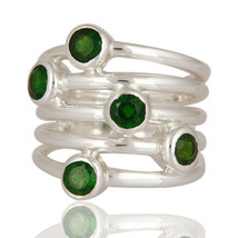 Chrome Diopside Gemstone Meditation Ring Sterling Silver Handmade Jewelry - $58.09