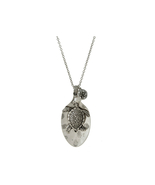 Sea Life Spoon Burnished Metal Pendant Long Necklace - $16.95