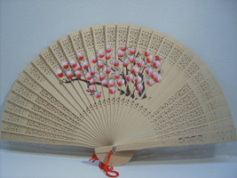 Asian Carved Hand Held Folding Fan Hand Painted with Floral Flowers # 72 - $9.99