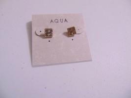 """Aqua 1/2"""" Gold Tone Etched Stud Earrings N514 - $6.36"""