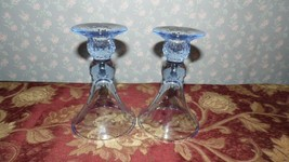 Vintage Blue Crystal Fostoria Candelholders Set Dotted Faceted Stems - $24.70