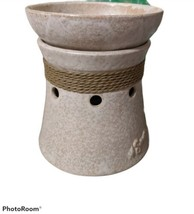 SCENTSY Nantucket Nautical Rope Detail Ceramic Beige Mid-Size Wax Warmer... - $18.30