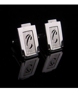 Vintage Personalized cufflinks / Letter C / silver Fancy initial C /  We... - $85.00