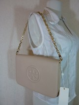NWT Tory Burch Light Oak Leather BOMBE Convertible Clutch - $350 - $295.02