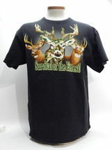 Survival Of The Fittest Camouflage Men's Deer S Hunting Black Cotton T-s... - $11.27