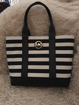 MICHAEL KORS Fulton navy/white Stripe Canvas Leather nautical TOTE Bag NEW - $149.00