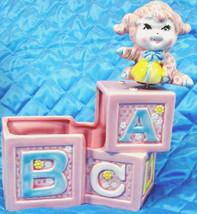 Nancy Pew Japan Baby Nursery Music Box Pink Ceramic Alphabet Blocks Plan... - $16.99