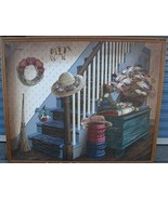 Painting Country Cottage On Canvas Signed 39 x 47 - $38.61