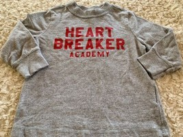 Old Navy Boys Gray Red Heart Breaker Academy Long Sleeve Shirt 18-24 Months 2T - $4.00