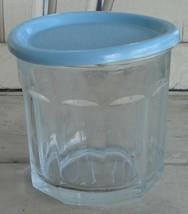 Nice Pressed Glass Canister with Plastic Lid, VERY GOOD CONDITION - $8.90