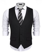 COOFANDY Men's Business Suit Vest,Slim Fit Skinny Wedding Waistcoat, Bla... - $35.14