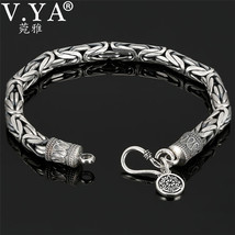 V.YA Genuine 100% Real Pure 925 Sterling Silver thick Men bracelet Safe ... - $22.71+