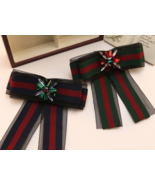 Red Blue Green Flower Crystal Fashion Ladies Organza Pre Tied Bow Brooch... - $8.99