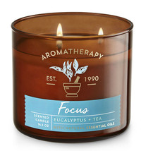 Bath & Body Works Aromatherapy Eucalyptus & Tea Three Wick 14.5 Ounces C... - $22.49