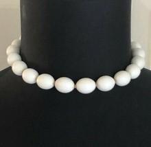 Vintage Signed Trifari White Beaded Choker Necklace - $7.91
