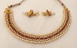 Indian Gold Plated Red Rhinestone Pearl Fashion  Wedding Jewellery Set India - $13.50
