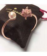 KATE SPADE 12K Gold Pink Imagination Pig Open Hinge Bangle Bracelet New - $41.99