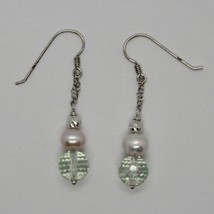 Silver Earrings 925 Rhodium Hanging with Prasiolite Faceted and Pearls image 1