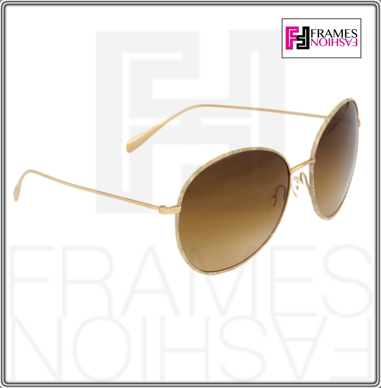 OLIVER PEOPLES BLONDELL 1102 Gold Titanium Brown Beige Polarized Sunglass 1102ST image 7