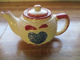 Hermatage Pottery Spongeware Heart Mini Teapot ~Mint~ - $14.84