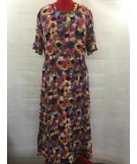 Vtg Finland Pink Blue Floral Viscose Zip Back Short Sleeve Belted Maxi D... - $33.96