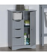 Gray Grey Wooden Floor Cabinet Bathroom Shelf 3 Drawer Towel Storage Cub... - $191.96