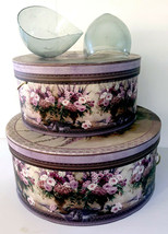 Once Upon a Rose Floral Hat Boxes Large Lot of 2 with 2 Hat Form Molds - $45.99