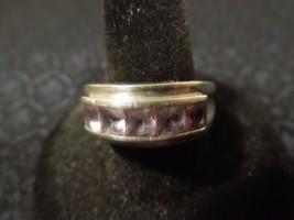Sterling Silver Channel Set Amethyst 5 Stone Ring Sz 8.25 - $40.10