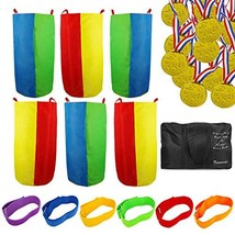 Potato Sack Race Bags - Outdoor Games for Kids and Adults, Includes 6 Pack Potat