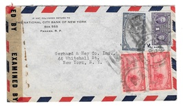 WWII 1943 Censored Cover 4680 Panama Aero to NY US Sc RA10 344 345 Bank ... - $4.99