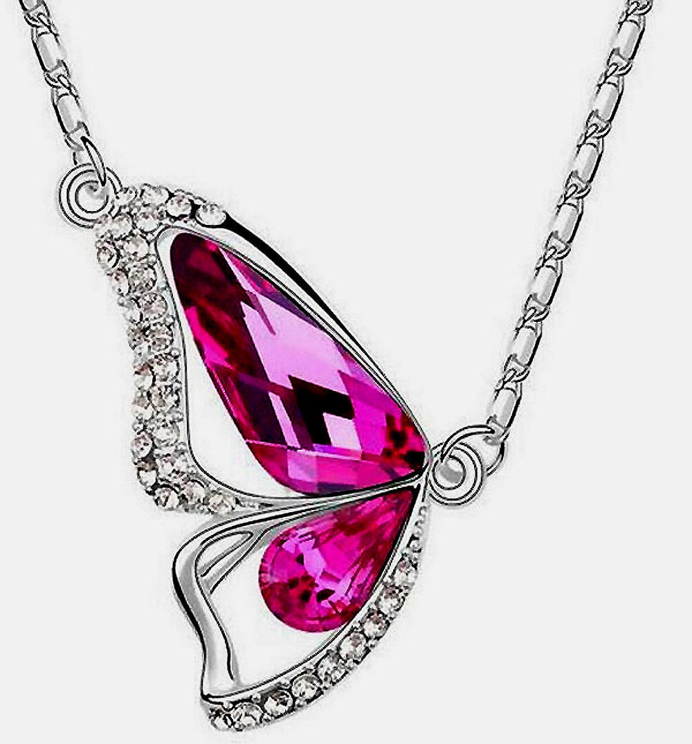 Necklace Colorful Crystal Butterfly White Gold Plated Great Inexpensive Gift