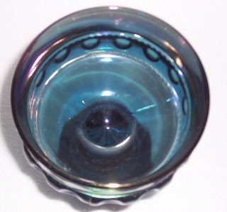 Vintage Indiana Glass Thumbprint Design Blue Iridescent Table Compote Display