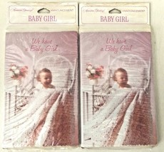 Vintage Lot 2 package AMERICAN GREETINGS  BABY GIRL Announcement Cards E... - $16.78