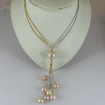 18k YELLOW WHITE GOLD DOUBLE CHAIN NECKLACE, WATERFALL MULTI WIRES PEARL PENDANT image 4