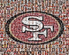 SF 49ers Player Mosaic Print Art Made From 80 of the Greatest All Time S... - $42.00+