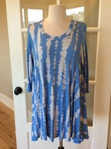 Tunic Tie Dye Sky Blue Acid Wash Long Top Womens Small - $15.83