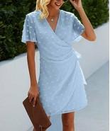 Yokodea Women's V-Neck Swiss Dot Short-Sleeve Wrap Dress (Blue, L) - $29.70