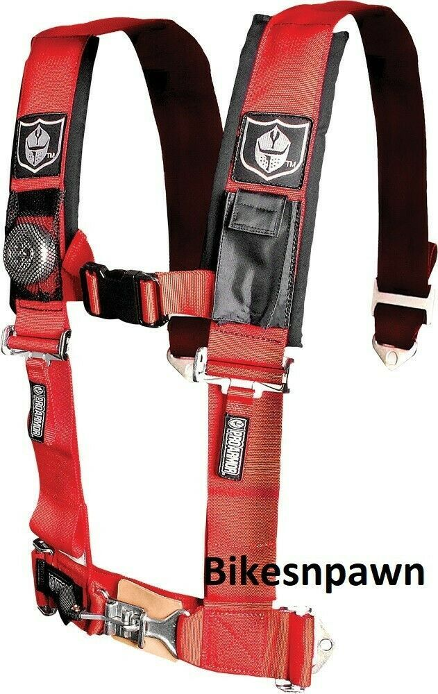 """New Pro Armor Red 4 Point Safety Harness Seat Belt RZR Rhino A114220RD 2"""" Pads"""