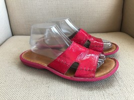 Born Bright Pink Patent Leather Slide Sandals EU 40.5 US 9 - $18.49