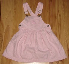 VTG OSHKOSH VESTBAK PINK WHITE STRIPE DENIM JUMPER OVERALL DRESS 4 4T GIRL - $75.23