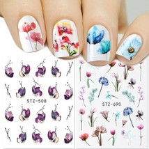Floral Slider Water Sticker Decal For Nail Art Transfer Tattoo Flamingo ... - $6.49