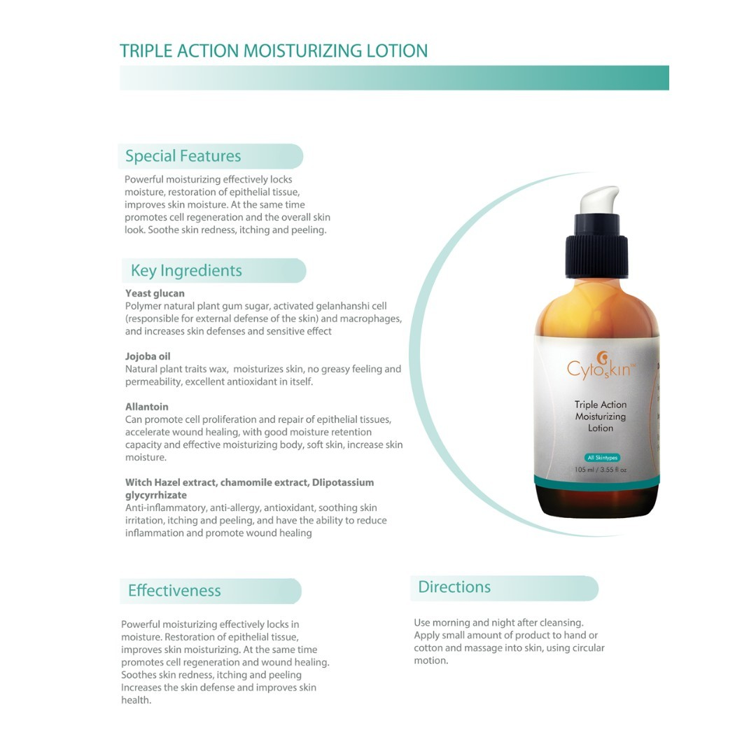 CytoSkin Triple Action Moisturizing Lotion for Face, 105ml + Free Sample