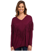 NWT DKNY Dolman Sweater Women's Size MEDIUM Purple Fringe Pullover - $22.20
