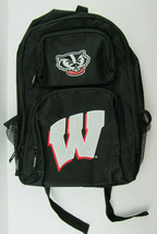 NWOT University of Wisconsin Badgers NCAA Black Backpack Embroidered Logos - $26.95