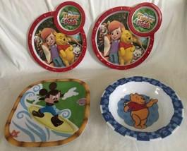 Disney Store My Friends Tigger Pooh Melamine Plates New Mickey Surfing P... - $27.71