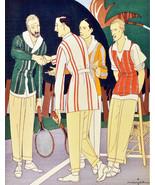 "11x14""Poster on Canvas.Interior design Art.Retro fashion.Men tennis club... - $28.05"