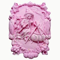 Witch With Cauldron - Soap/sugar/fondant/chocolate 2d Silicone Mold - $39.59