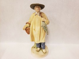 Vintage Porcelain Normandy Peasant Man with Basket Goose and Umbrella Fi... - $39.59