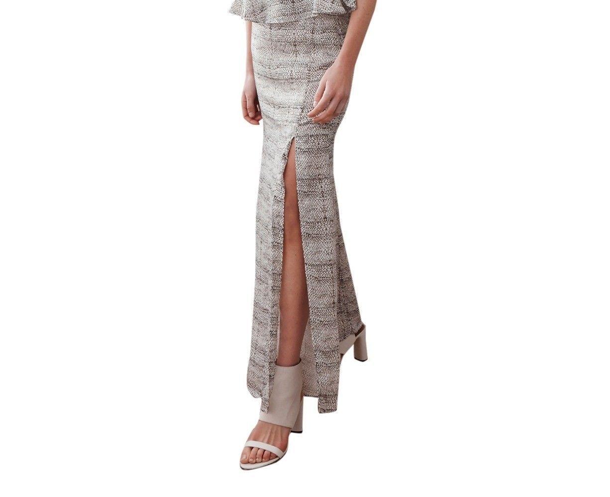 NWT STEVIE MAY Maxi Skirt Small long mermaid style high front split $260 viper - $116.40